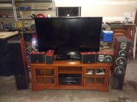 """Complete Home Theater (55"""" HDTV, audio receiver, 7 speakers, TV stand) [will also sell pieces in..."""
