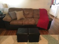 Couch, love seat and 2 ottomans and 2 gray throw pillows
