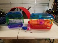 Two hamster missing the add-on pieces or stoppers