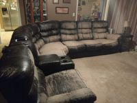 Leather sectional/pwr recliners/queen sleeper