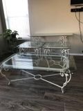 Beautiful Glass Top Cast Iron Table Set