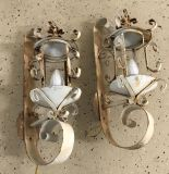2 Vintage iron electrical wall sconce lights
