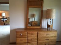 Oak Dresser With Mirror & Matching Side Tables
