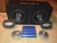 $400, Amp, two 12 subwoofers wbox  4 speakers