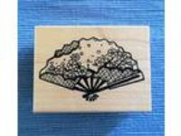 Mari & me Japanese Cherry Blossoms Fan Rubber Stamp Asian
