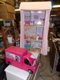 """Barbie Wooden Dollhouse 49"""" tall and 20 Accessories + Camper RV"""