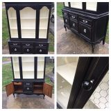 ANTIQUE BUFFET CHTCH CHINA CABINET DRESSER DISPLAY CABINET FRENCH PROV