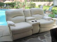 $350, White Leather Love Seat with motion
