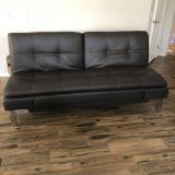 Brown bonded leather euro lounger