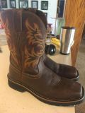 Justin steel toe leather work boots men s 10D