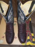 Men's Justin Genuine Elephant Skin Mens Boots sz 9-1/2 B - Very Good Condition