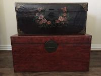 Two Antique Chinese Leather-Bound Trunks