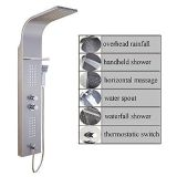 ELLO&ALLO Stainless Steel Rainfall Thermostatic Shower Panel Tower Multiple Shower Head