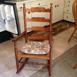 Maple Colored Antique Wicker Rocking Chair