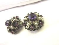 vintage silver tone clip on purple filagree large cluster faux pearl w germany