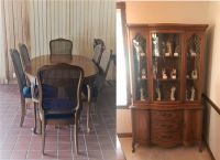 Dining Room Table, 6 Chairs & Matching Hutch