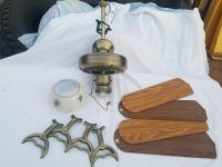 Ceiling Fan with Light 52 in 4 Blades Antique Brass
