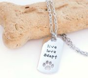 New Hand Stamped Live, Love, Adopt Pet Necklace
