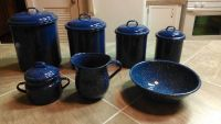Blue Spatterware Country Kitchen Canister Set Sugar  Creamer w Bowl