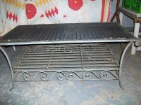 METAL BASED COFFEE OR UTILITY TABLE WITH WICKER TOP