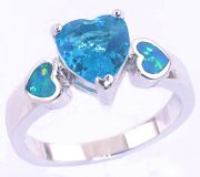 New - Aquamarine Heart and Blue Fire Opal Ring - Sizes 7 and 8
