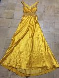 Stunning GOLD DAVID'S BRIDAL BALL GOWN BACKLESS SIZE 10 Mardi Gras