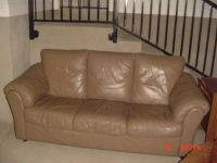Brown Leather Couch, Accent Rotational Chair, Coffee Table (Ft. Hood)