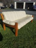 Cherry Wood and White Leather Sofa