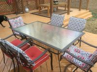 Glass Patio table and 6 metal chairs