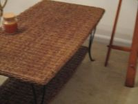 Iron and wicker coffee table