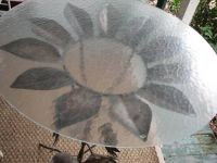 Handcrafted Metal  Iron Table, Sunflowers, Glass Top