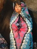 """16"""" porcelain indian doll in papoose"""