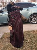 burgundy golf bag. includes matching head covers, and shoe bag. brand new, never used. NWT! $30!