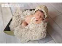 Hypoallergenic & Washable Tan Faux Fake FUR Newborn Baby Photo Props
