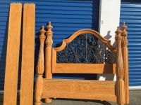 4 Poster Pine wrought iron queen size bed