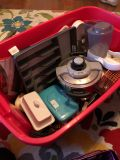 Large Rubbermaid tub of kitchen items