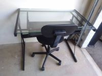 Glass Black Computer Desk with Sliding Tray and Task Chair