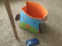 Cute Puppy Dog canvas bin with bottom insert but it is not shaped like a square any longer, not sure if it can be bent back. $1.00