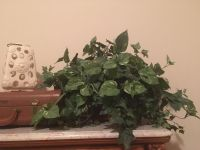 Large greenery display in pretty metal container
