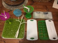Grass drying rack including both flower and branch drying tools, munchkin baby food freezer containers, food mill, unusued breastmilk bags