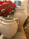 Set of two pretty ceramic vases 15 1/2 inches & 10 1/2 inches