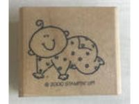 Crawling BABY STAMPIN UP WOOD MOUNTED RUBBER STAMP 2000 ~ -