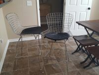 (2)BEAUTIFUL MID-CENTURY MODERN 'BERTOIA' TALL METAL STOOLS-BLACK LEATHER SEATS....FROM HOUZZ COST $190/EACH!!!