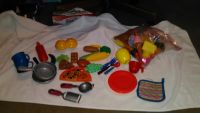 Lg lot of play food and dishes and more