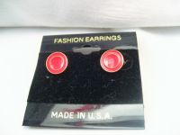 NWT Gold Tone Red Circle Round Stud Post Dainty Cute Fashion Earrings