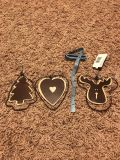5 metal and wood Christmas ornaments, all 3 for $3.00