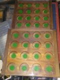two wooden half and while dollar display cases w/ glass
