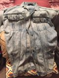 Nice long denim jacket size doesn t show maybes like a 16/18