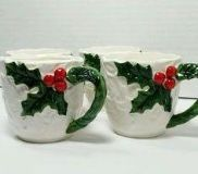 "Set of 11 Vintage Lefton Christmas White ""Holly Berry"" Mugs. Near Mint! CP."