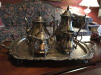 International Silver Co Silver Plate Serving Set - Webster Wilcox: Coffee Pot ~ Tea Pot ~ Sugar with Lid ~ Creamer ~ Footed Butler s Tray